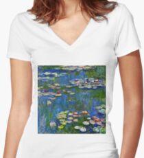 Claude Monet - Water Lilies 1916 Women's Fitted V-Neck T-Shirt