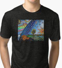 Flammarion Woodcut Flat Earth Design Tri-blend T-Shirt