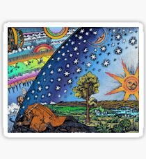Flammarion Woodcut Flat Earth Design Sticker