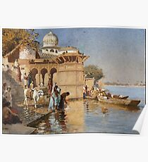 Edwin Lord Weeks - Along The Ghats, Mathura  1880 Poster