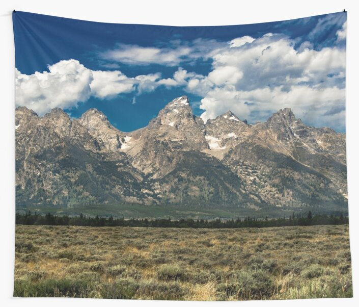Mountain Trees Nature Travel Landscape Photography Wall Tapestry The Grand Tetons by travel101
