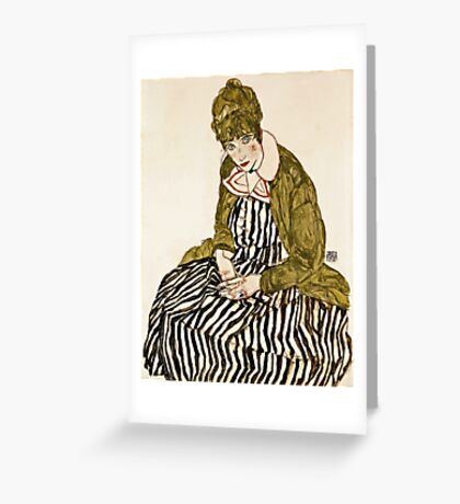 Egon Schiele - Edith With Striped Dress, Sitting (1915) Greeting Card