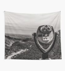 Scenic Mountains - Black and White Tourist Binoculars at Pikes Peak Denver Colorado Wall Tapestry