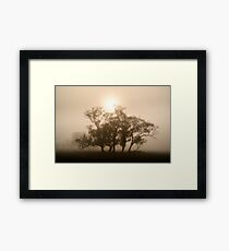 On fire in the fog - Tongala, Victoria, Australia Framed Print