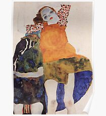 Egon Schiele - Two Seated Girls 1911 Poster