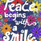 Frieden beginnt mit einem Lächeln, Mutter Teresa Zitat, Schriftzug, Blumen und Blätter Doodle, inspirierend von Eneri Collection