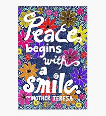 Peace Begins With A Smile, Mother Teresa Quote, Lettering, Flowers And Leaves Doodle, Inspirational Photographic Print