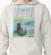 The Cat And The Fishermen Pullover Hoodie