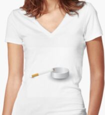 ashtray and cigarette Women's Fitted V-Neck T-Shirt