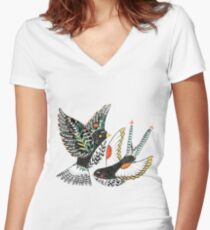 Sparrow & Swallow Women's Fitted V-Neck T-Shirt