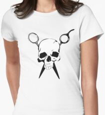 Skull and Shears Hair Stylist Art Women's Fitted T-Shirt