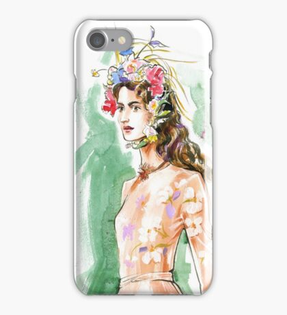fashion 29: girl with floral wreath on her head iPhone Case/Skin