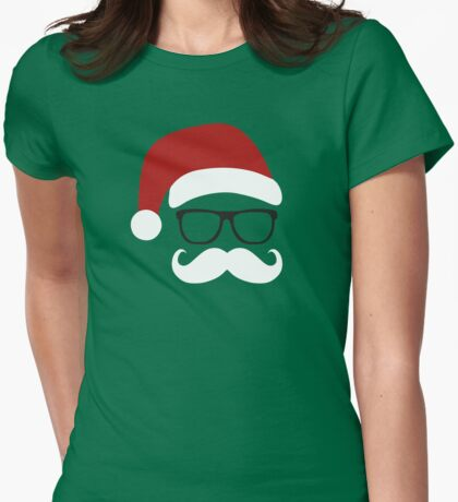 Funny Santa Claus with nerd glasses and mustache T-Shirt