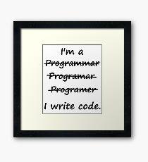 I'm a Programmer I Write Code Bad Speller Framed Print