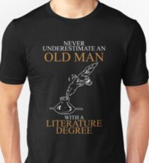 Never Underestimate Old Man Literature Unisex T-Shirt