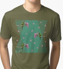 Parakeet and flowers Tri-blend T-Shirt