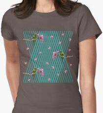 Parakeet and flowers Womens Fitted T-Shirt