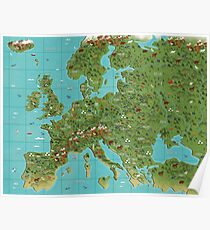 Illustrated Map of Europe Poster