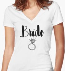 "Cute Wedding, Bridal, Engagement ""Bride"" with ring Women's Fitted V-Neck T-Shirt"
