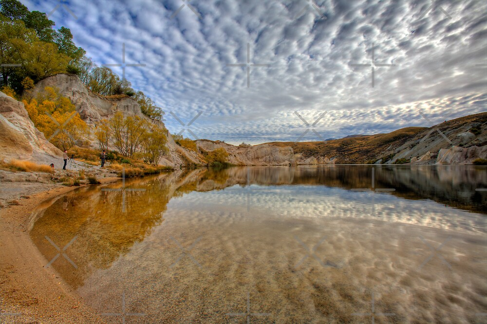 Blue Lake - St Bathans reflections by Mel Brackstone