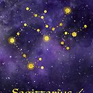 Sagittarius Zodiac constellation, birthday November to December, astronomy, astrology, horoscope, watercolour space painting with gold effect stars, font and symbol. by Sandra O'Connor