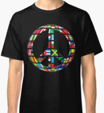 peace symbol with country flags uniting all in to peace symbol - Gift Idea for Women Men Boys And Girls Classic T-Shirt