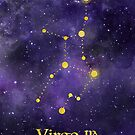 Virgo Zodiac constellation, birthday August to September astronomy, astrology, horoscope, watercolour space painting with gold effect stars, font and symbol. by Sandra O'Connor