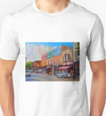 BIKING PAST THE DELI ON RUE ST.LAURENT MONTREAL PAINTINGS AND SCENES Unisex T-Shirt