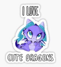 I Love Cute Dragons Sticker