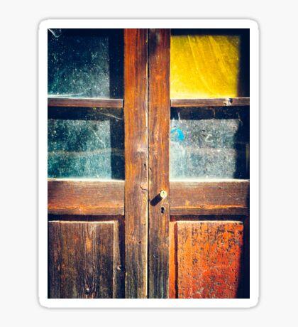 Rotten wooden door detail Sticker