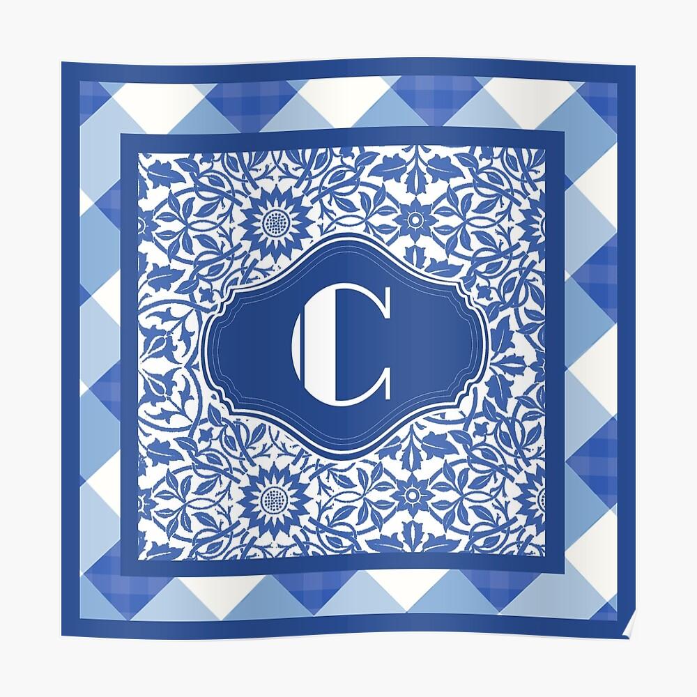 Letter C Monogram in Indigo Patterns Póster
