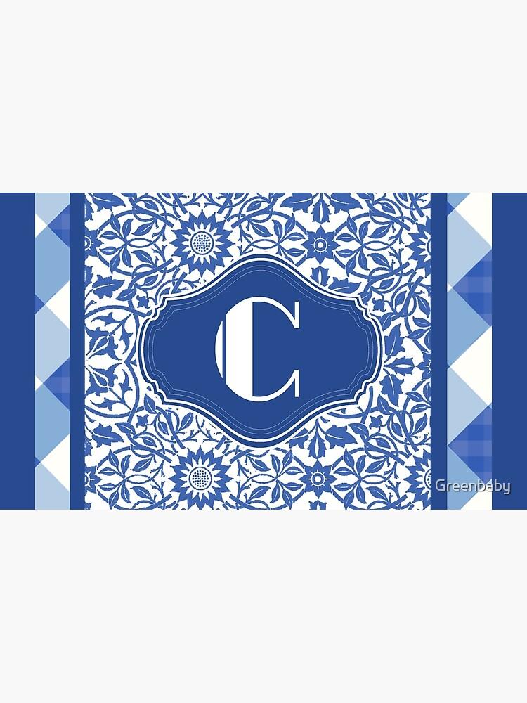 Letter C Monogram in Indigo Patterns de Greenbaby