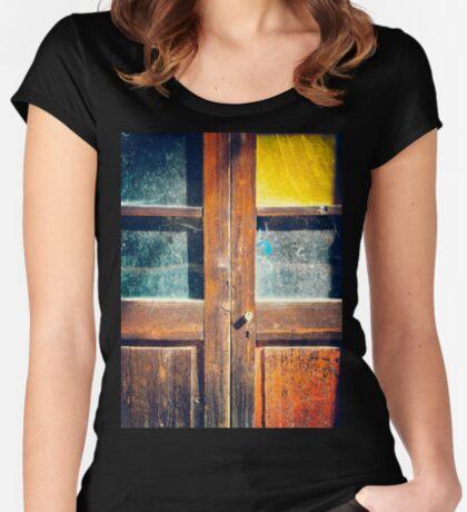 Rotten wooden door detail Women's Fitted Scoop T-Shirt