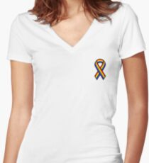 Gay Ribbon Women's Fitted V-Neck T-Shirt