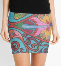 Paisley abstract colourful pattern Mini Skirt