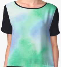 Tranquil Dreams, Simple Blue & Green Watercolor Chiffon Top