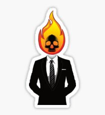 Flaming Skull in Suit Sticker