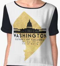 WASHINGTON D.C. DISTRICT OF COLUMBIA SILHOUETTE SKYLINE MAP ART Chiffon Top