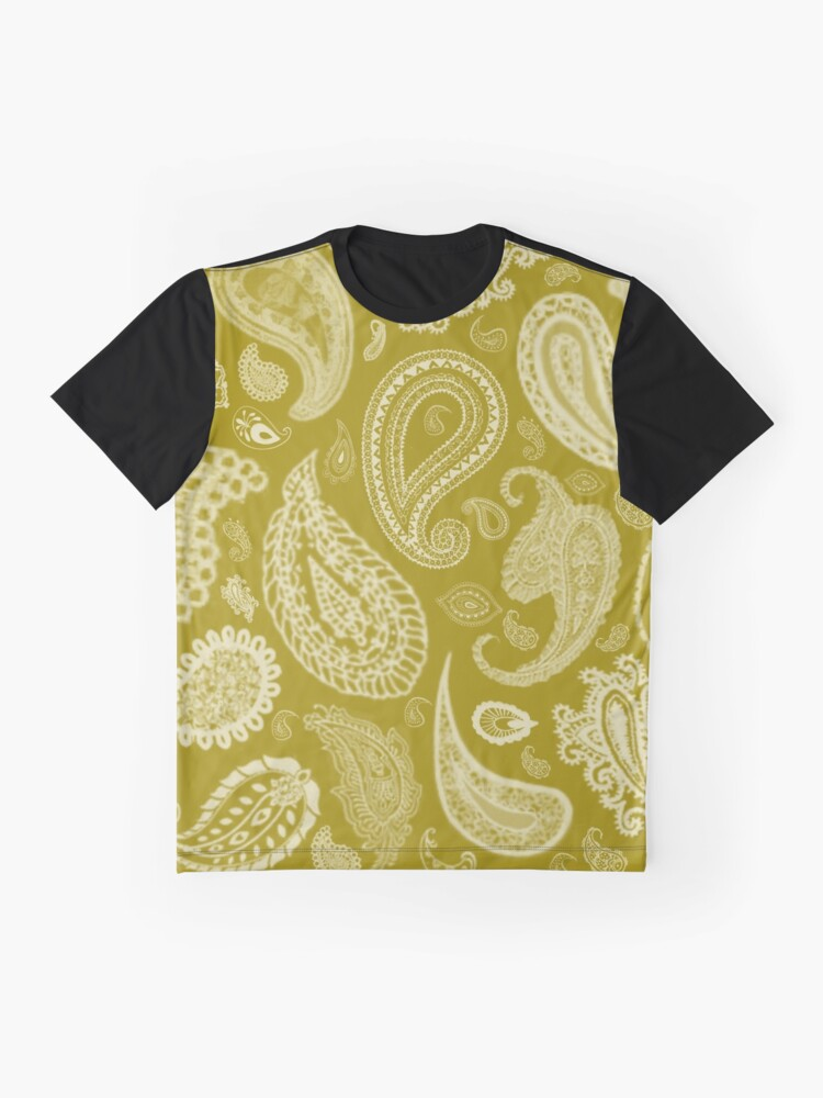 Alternate view of White Paisley on Color #A38E09  Graphic T-Shirt