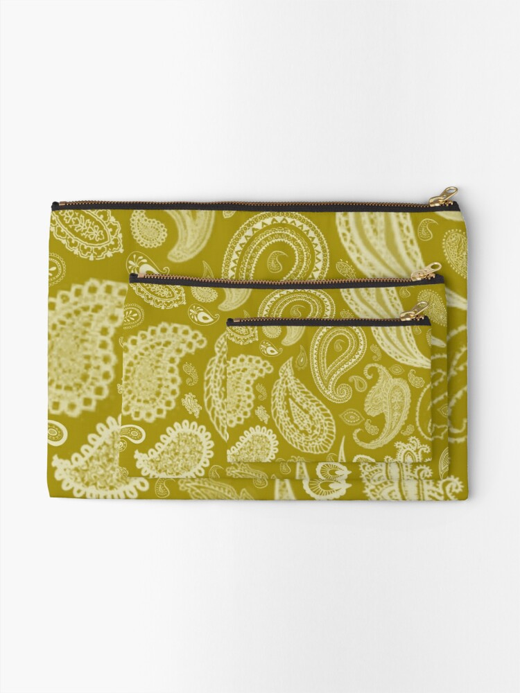 Alternate view of White Paisley on Color #A38E09  Zipper Pouch