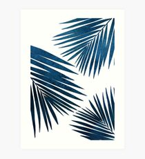 Indigo Palm Fronds Art Print