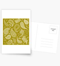 White Paisley on Color #A38E09  Postcards