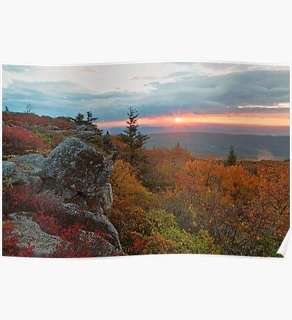 Autumn Dolly Sods Sunrise - Bear Rocks Poster