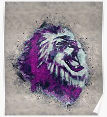 Painted geometric Lion Head in Bright Colors Poster