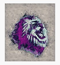 Painted geometric Lion Head in Bright Colors Photographic Print