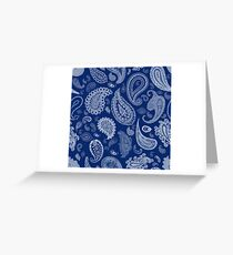White Paisley on Blue #07286B  Greeting Card