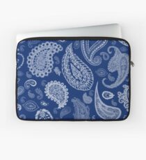 White Paisley on Blue #07286B  Laptop Sleeve
