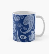 White Paisley on Blue #07286B  Classic Mug