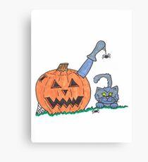 Jack o Lantern Cat Canvas Print
