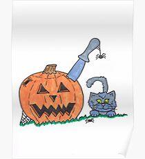 Jack o Lantern Cat Poster